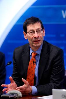 Maurice Obstfeld, chief economist at the International Monetary Fund (IMF), speaks during a news conference at the Bank of England (BOE) in the City of London. Photo: Chris Ratcliffe/Bloomberg