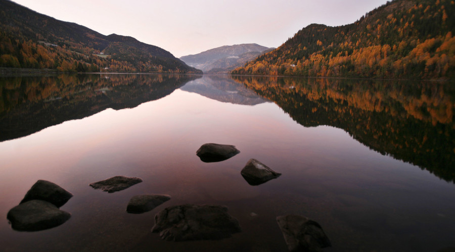 A fjord at sunrise, west of Drammen, Norway © Bob Strong