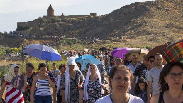 Armenians wait to see Pope at the Khor Virap monastery, Armenia. 26 June 2016