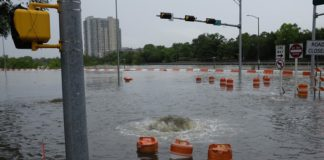 Flooding on Allen Parkway in April.